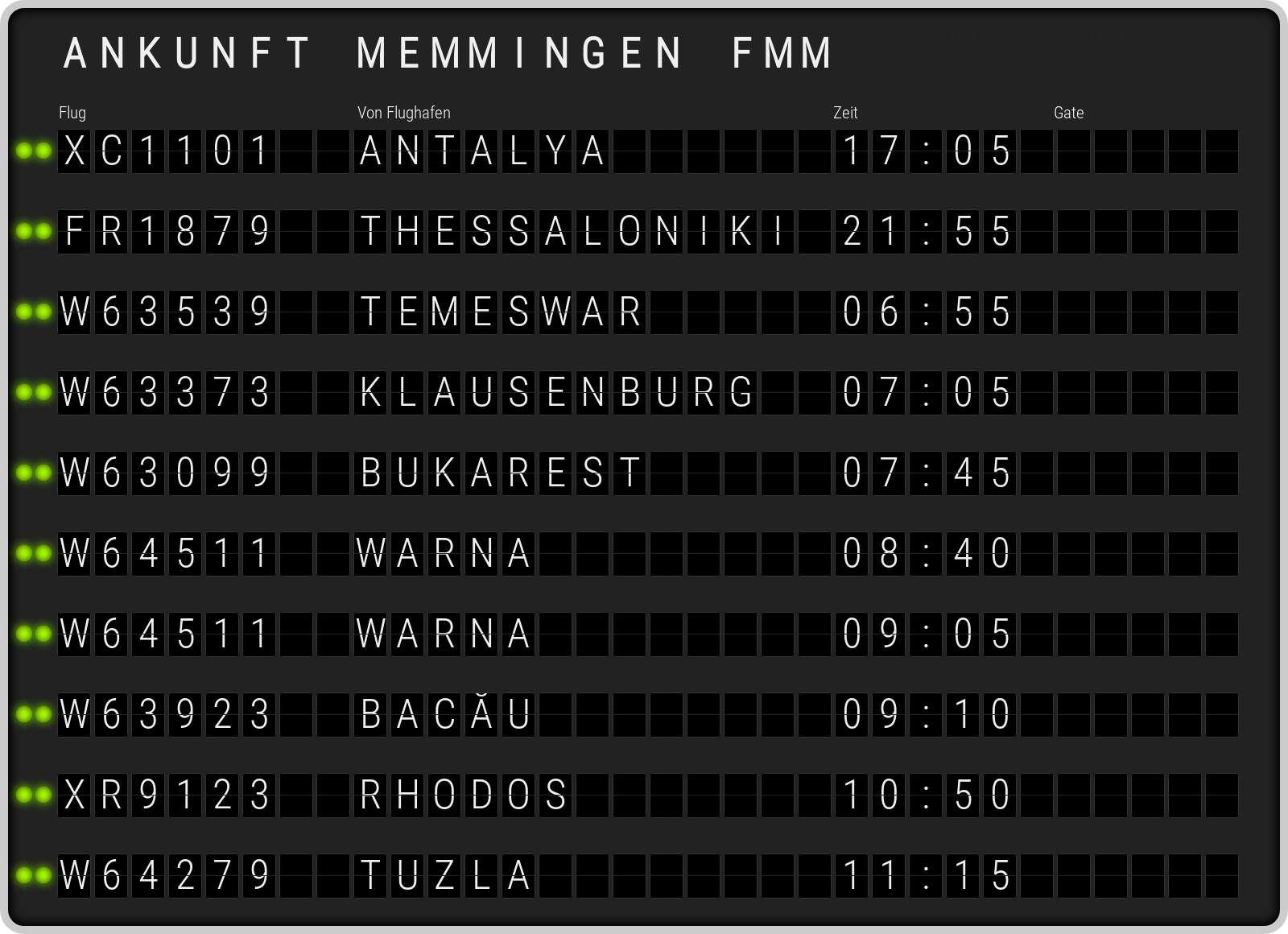 Memmingen Ankunft FMM. Aktuelle Ankunftszeiten am Flughafen Memmingen