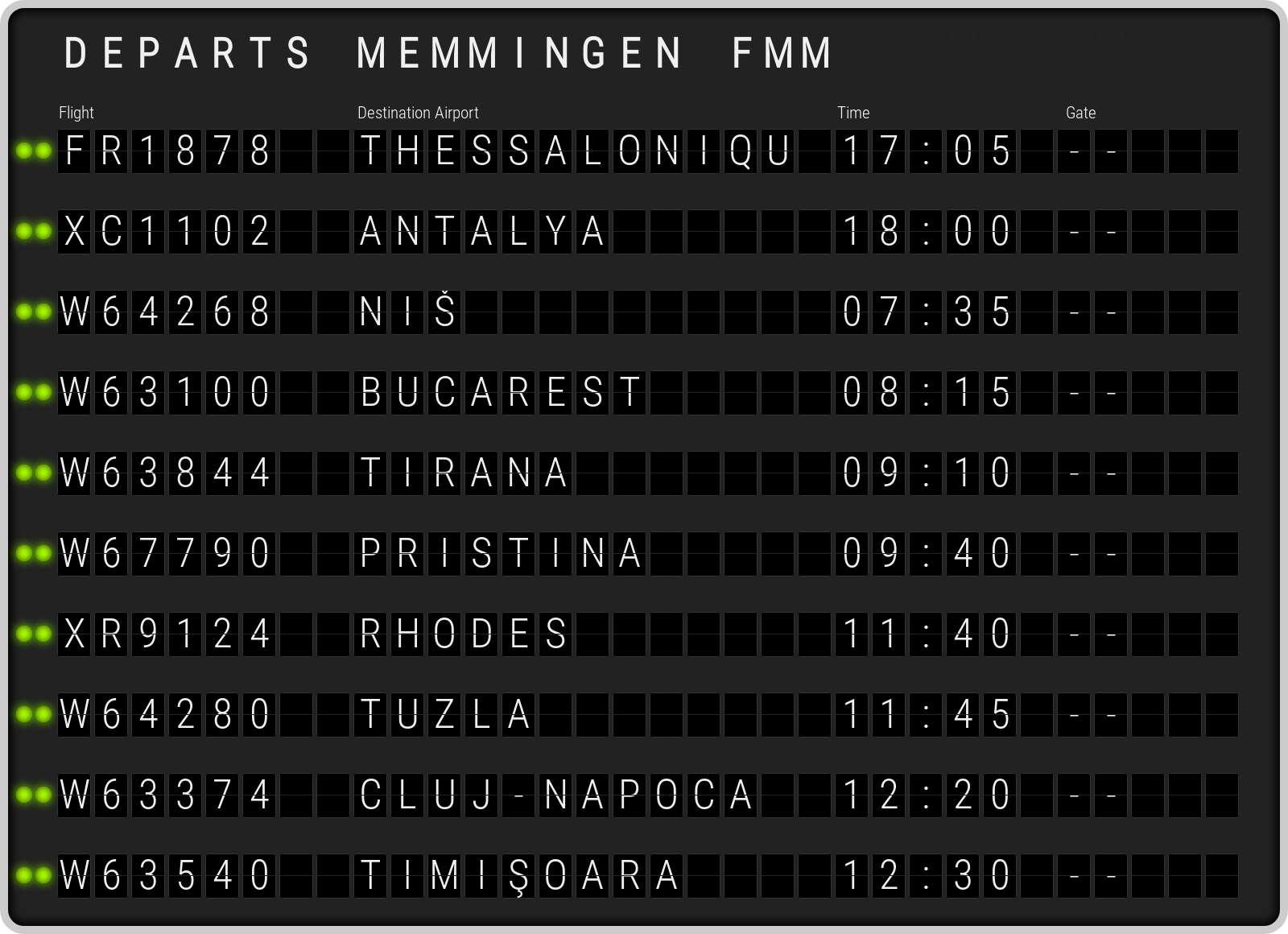 Memmingen Departs FMM.  départs  Aéroport Memmingen