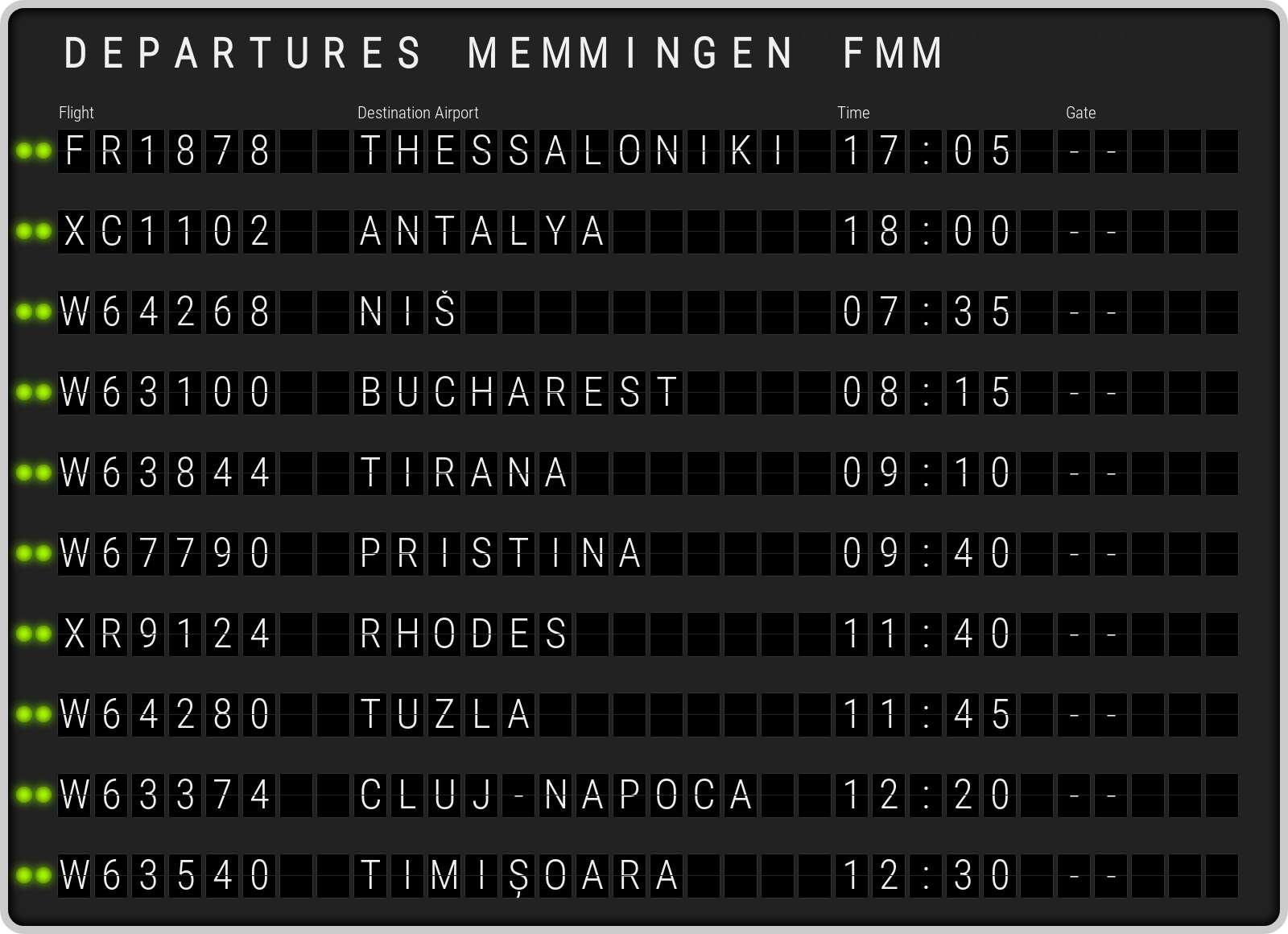 Memmingen departures FMM. Current departure from Memmingen Allgäu, Memmingen Airport