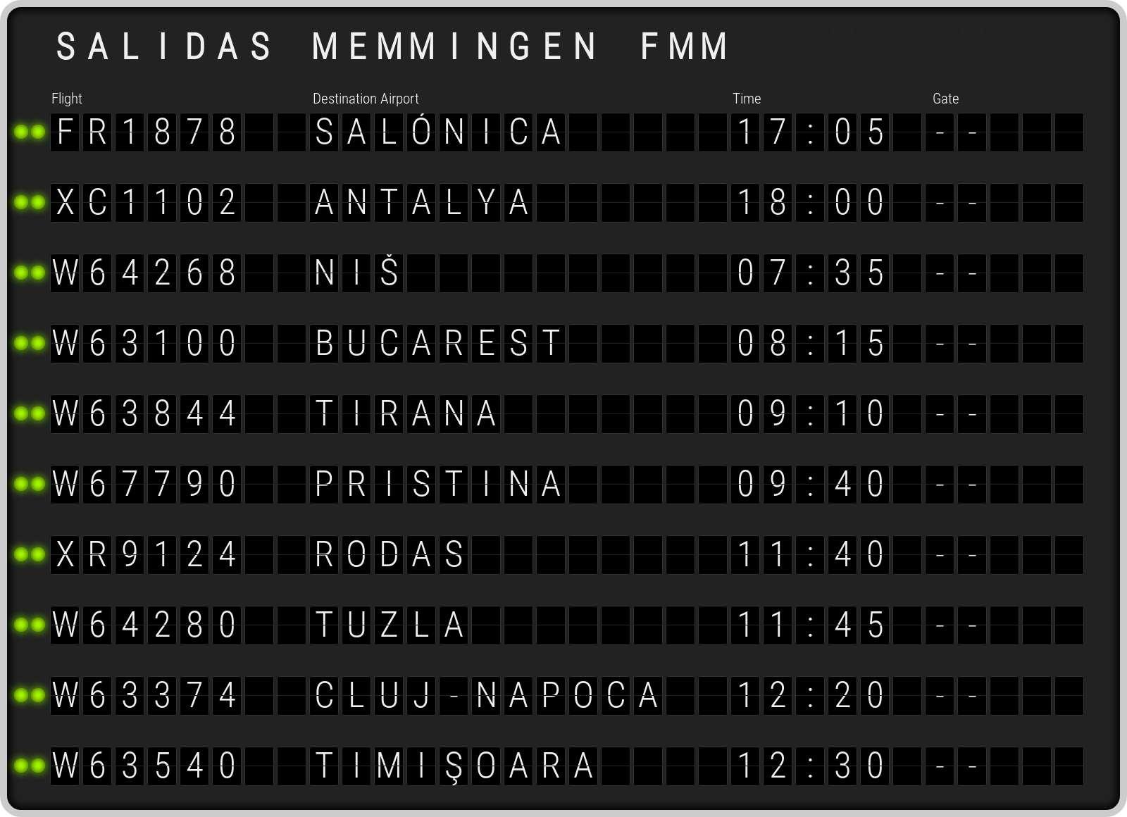 Memmingen Salidas FMM.  Horarios de salida al Aeropuerto Memmingen